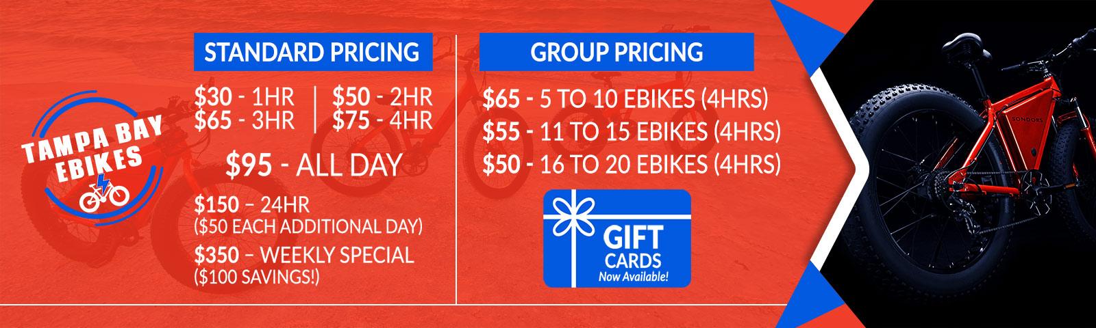 Tampa Bay E Bikes Pricing